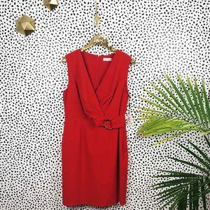 Calvin Klein   Red Deep Neck Dress